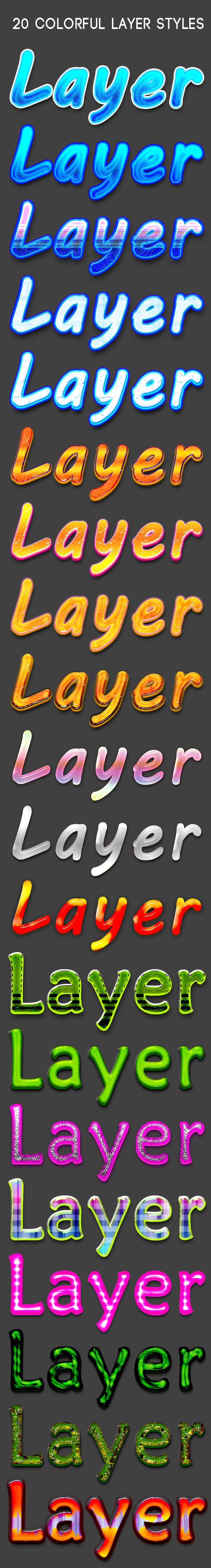 20 Colorful layer Styles - Text Effects Styles