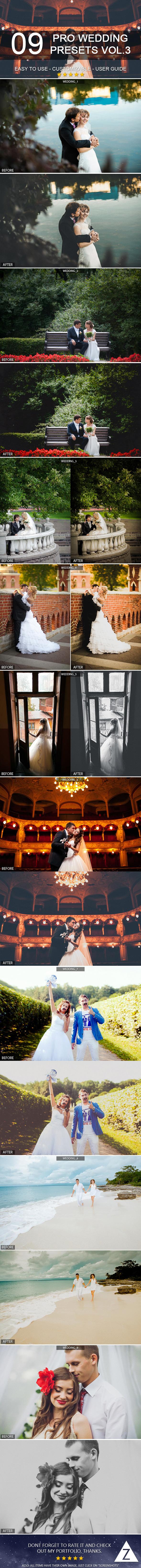 9 Pro Wedding Presets vol.3 - Wedding Lightroom Presets