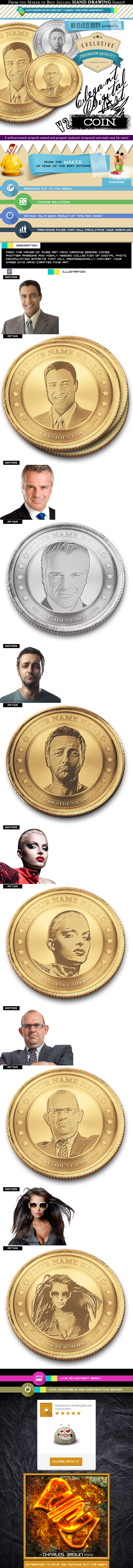 Elegant Digital Art Imagining 2 – Face on Coin - Photo Effects Actions