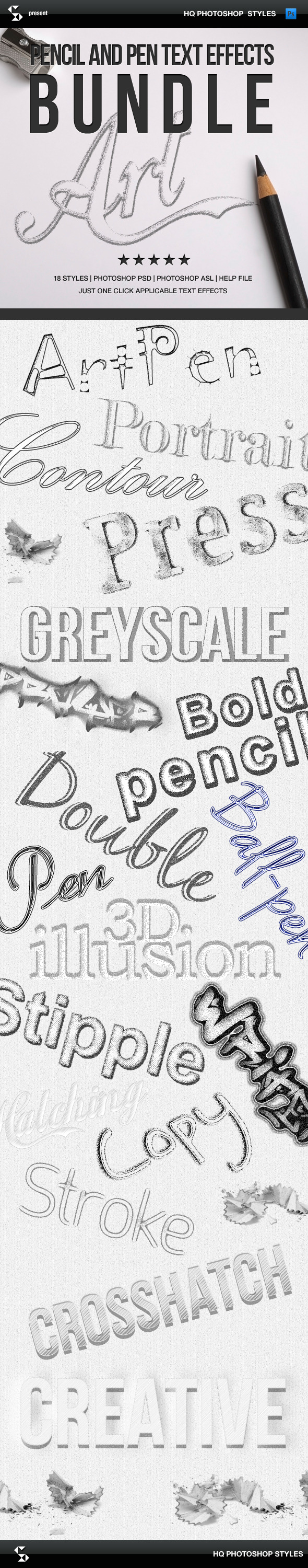 Pencil Styles Bundle - Pencil Art Text Effects - Text Effects Styles