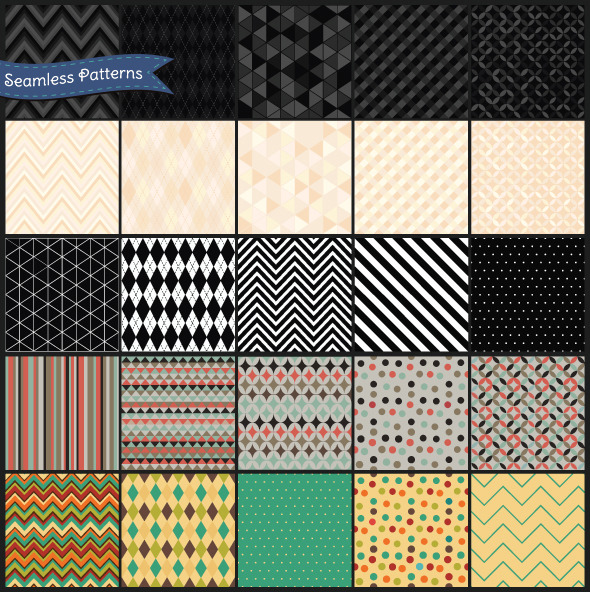 Set of Retro Geometric Seamless Background Pattern - Textures / Fills / Patterns Photoshop