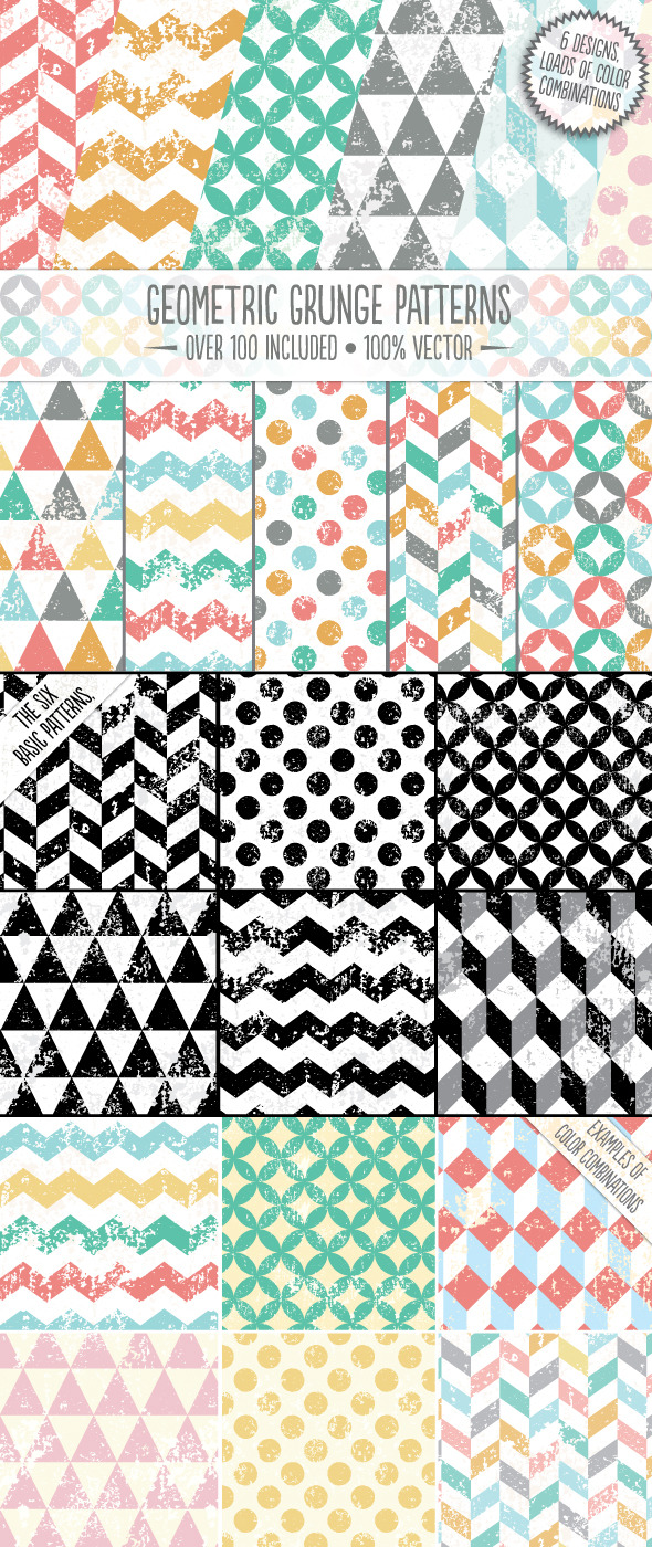Geometric Grunge Patterns - Textures / Fills / Patterns Illustrator