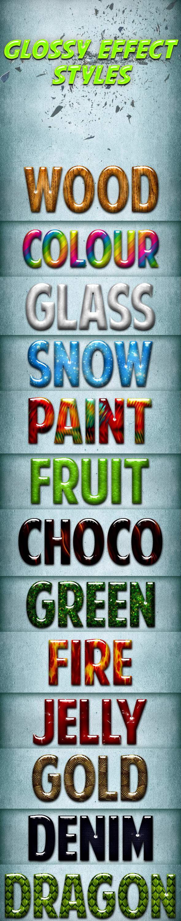 Glossy Effect Styles - Text Effects Styles