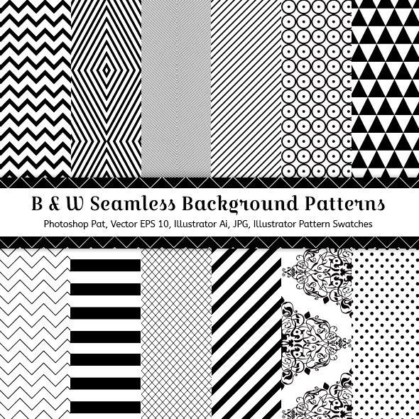 Black & White Seamless Background Patterns - Textures / Fills / Patterns Photoshop