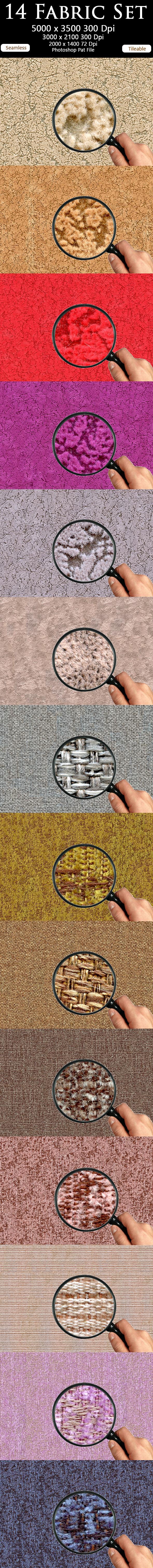 14 Fabric Set - Textures / Fills / Patterns Photoshop