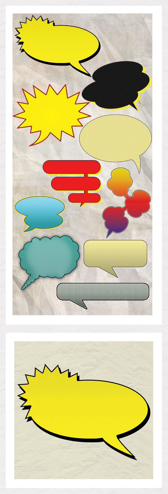 Vintage Comic Book Speech Bubbles - Objects Shapes