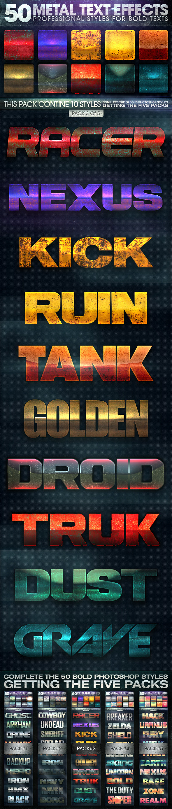 50 Metal Text Effects 3 of 5 - Text Effects Styles