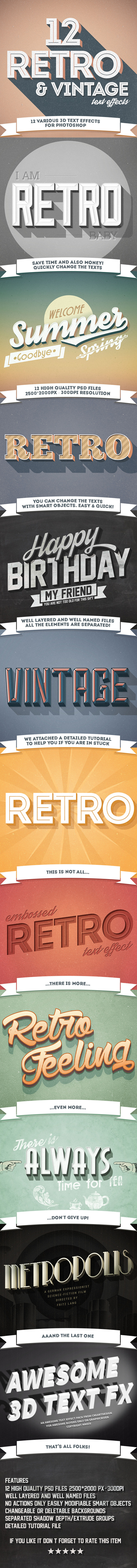 12 Various 3D Retro & Vintage Text Effects for Photoshop - Photoshop Add-ons
