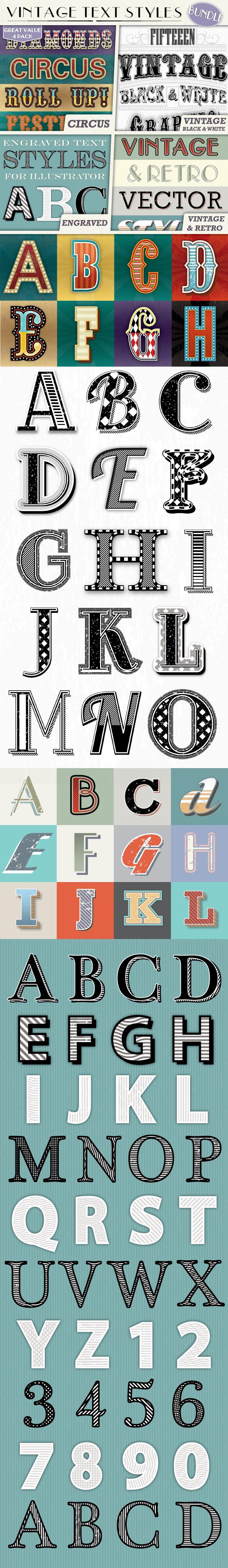 Vintage Text Styles Bundle - Styles Illustrator