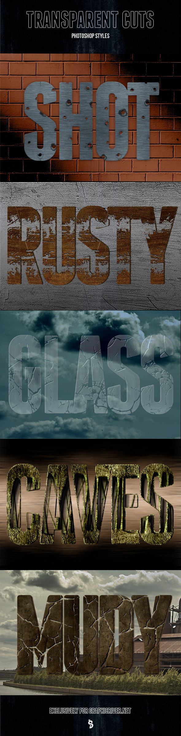 Cutted Transparent Styles - Text Effects Styles