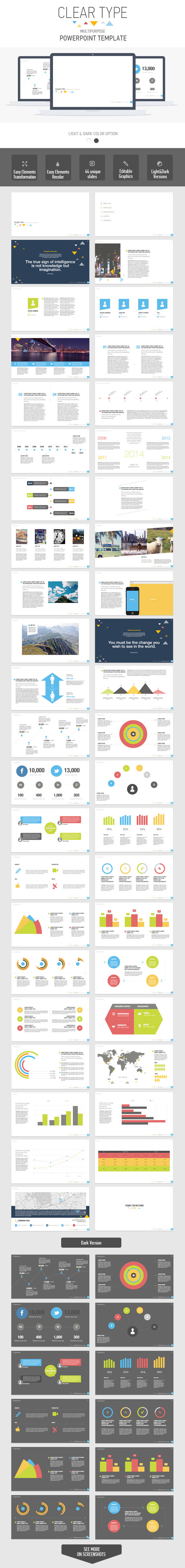 Clear Type Powerpoint Multipurpose Template  - Business PowerPoint Templates