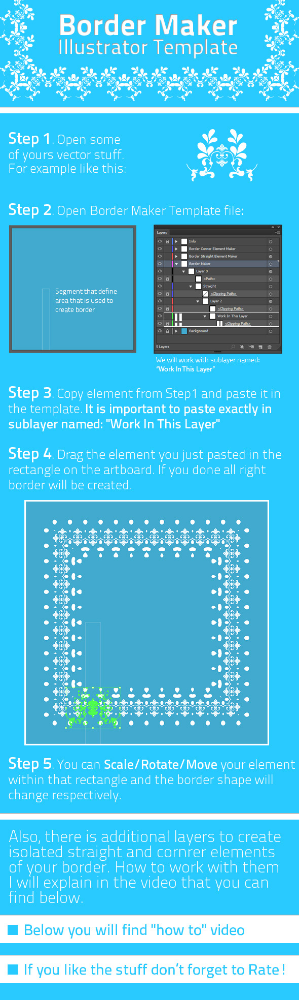 Border Maker Template - Actions Illustrator