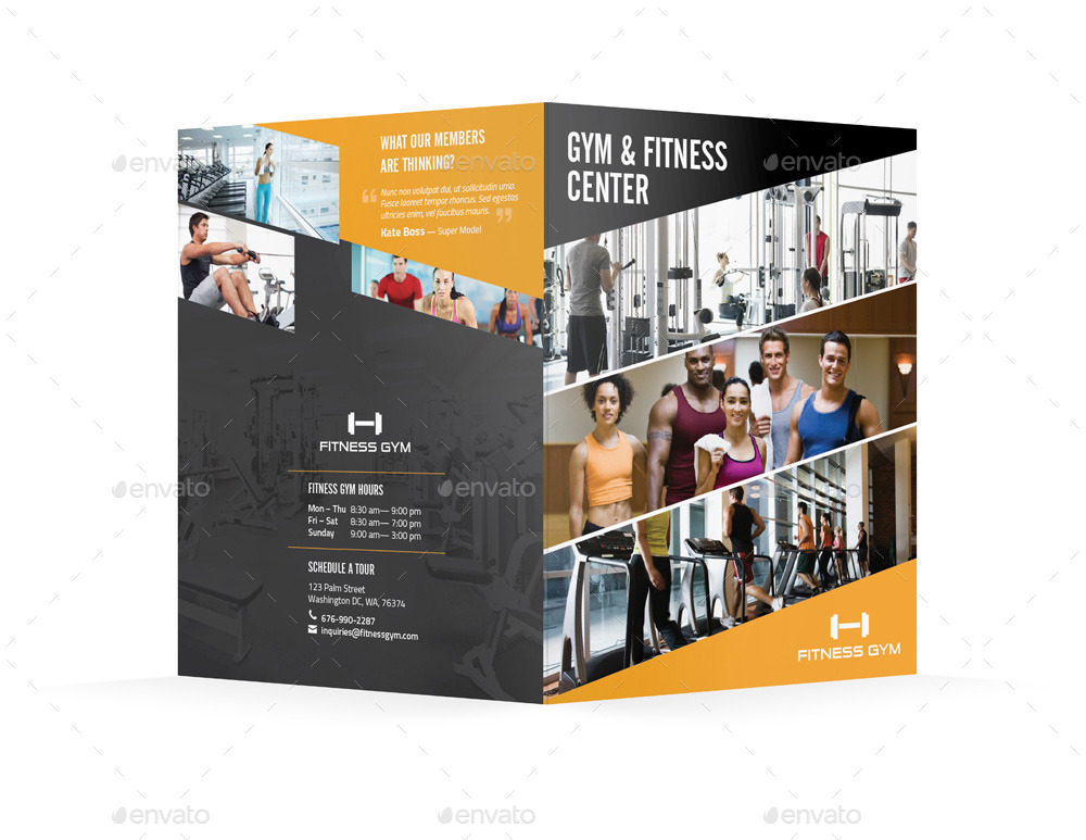 Fitness Gym Bifold / Halffold Brochure By Mike_Pantone | Graphicriver