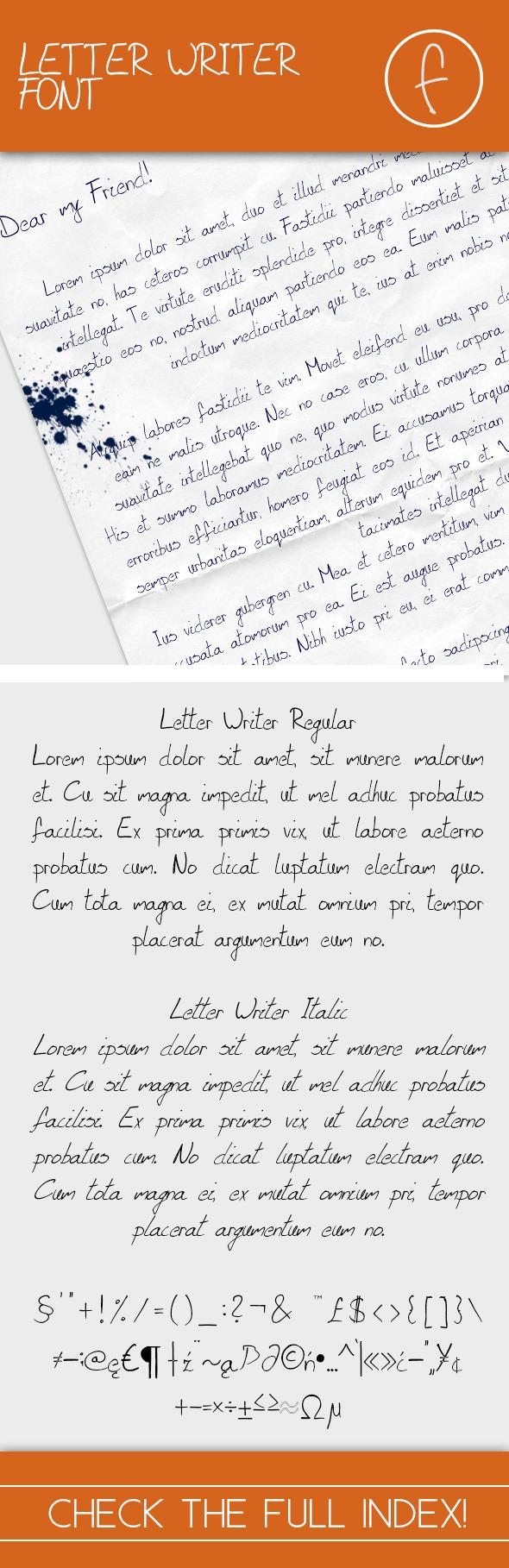 Letter Writer Font - Regular & Italic - Fonts
