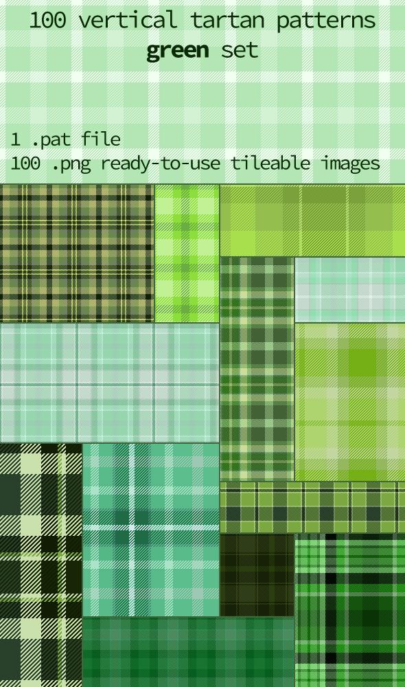 Tartan Pattern Collection - Vertical Green set - Textures / Fills / Patterns Photoshop