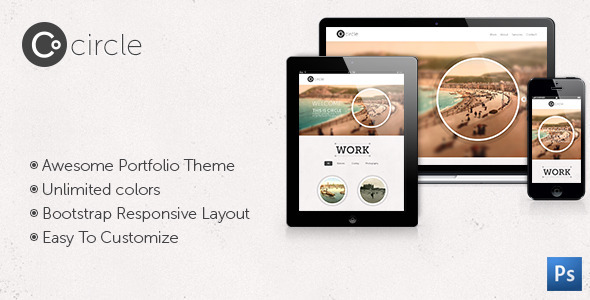 Circle Theme - One Page PSD Template - Portfolio Creative