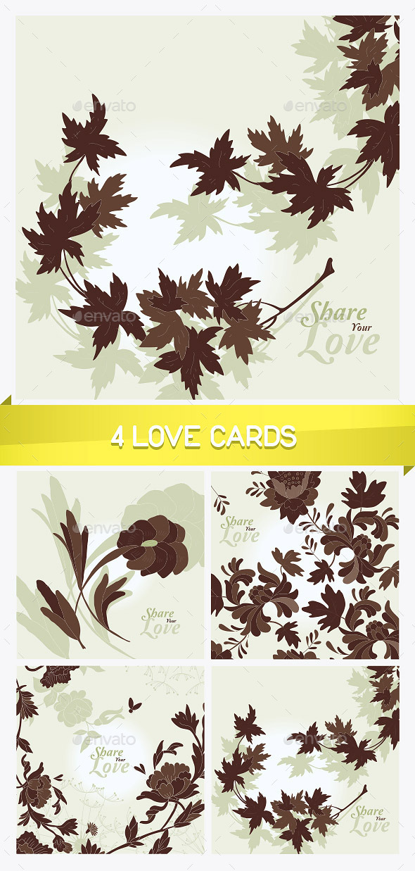4 Love Flowers Cards - Miscellaneous Conceptual