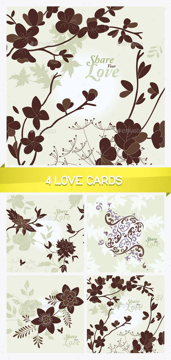 4 Love Flowers Cards - Miscellaneous Conceptual