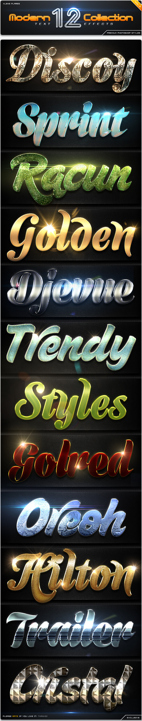 12 Modern Collection Text Effect Styles Vol.2  - Text Effects Styles