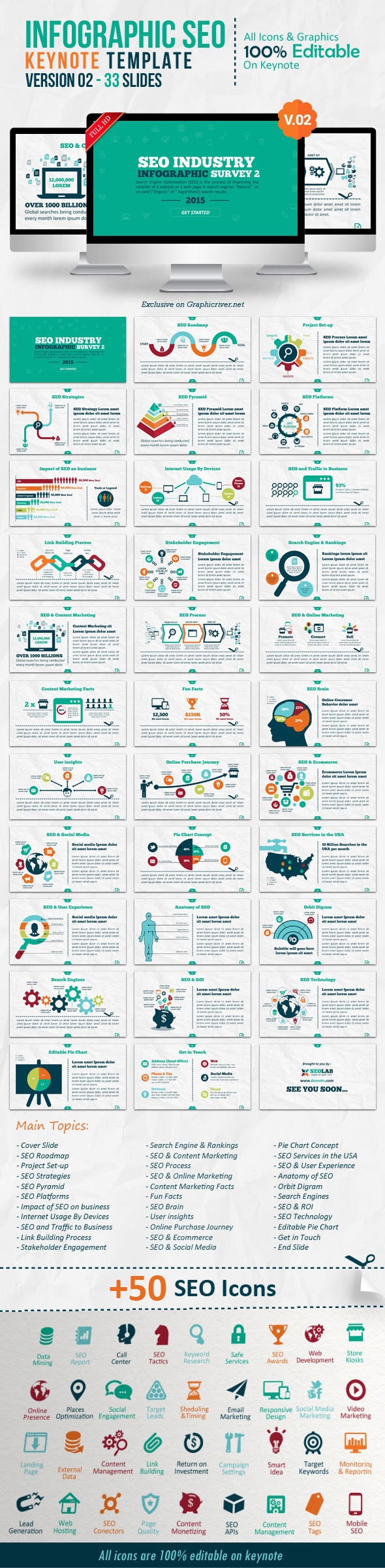 Infographic SEO Keynote V By Kh GraphicRiver - Seo roadmap template