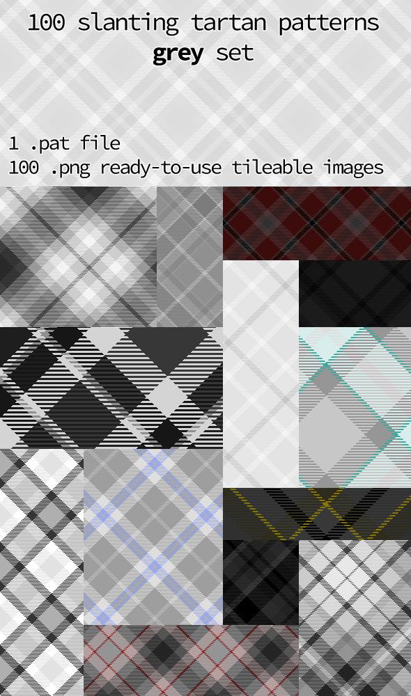 Tartan Pattern Collection - Slanting Grey Set - Textures / Fills / Patterns Photoshop