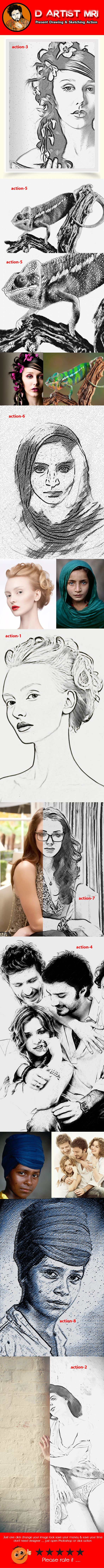 Drawing & Sketching Action - Actions Photoshop