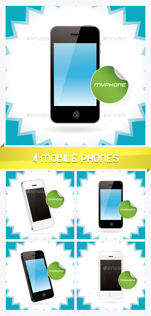 4 Mobile Phones Illustrations  - Miscellaneous Conceptual