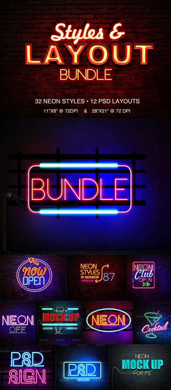 Neon styles bundle by mixmedia87 graphicriver neon styles bundle altavistaventures Gallery