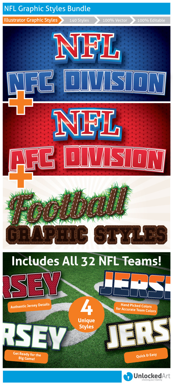 NFL Graphic Styles Bundle - Styles Illustrator