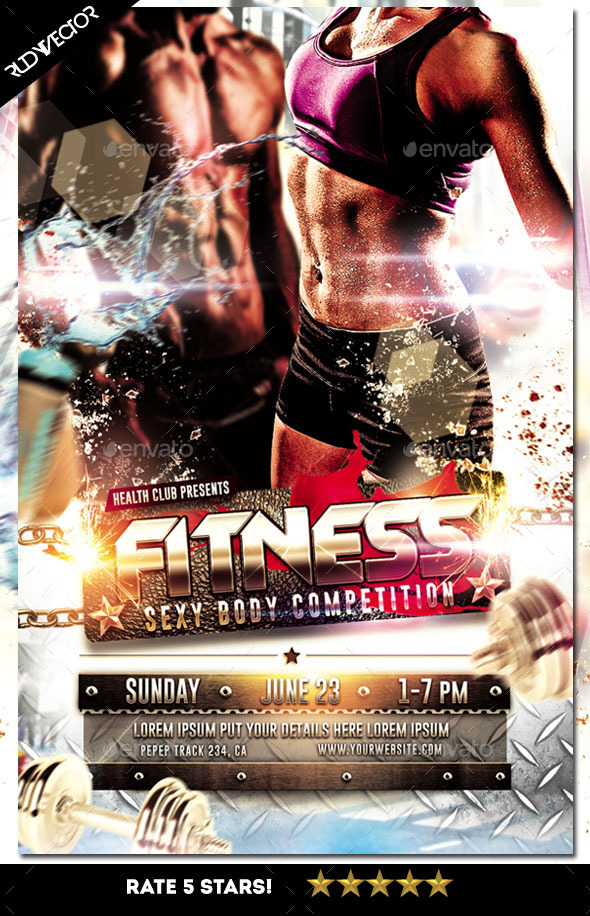 fitness sexy body workout muscle competition flyer by