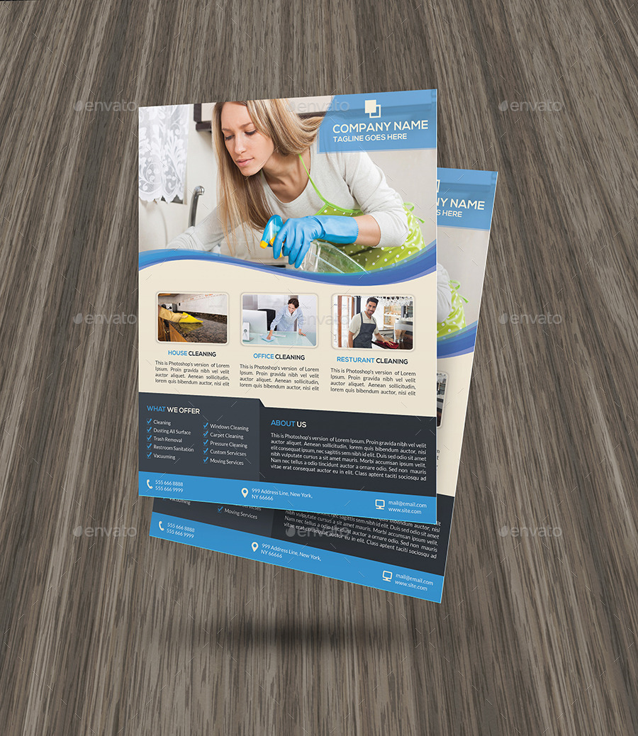 Cleaning Services Flyer Template By Elitely GraphicRiver - Commercial cleaning brochure templates
