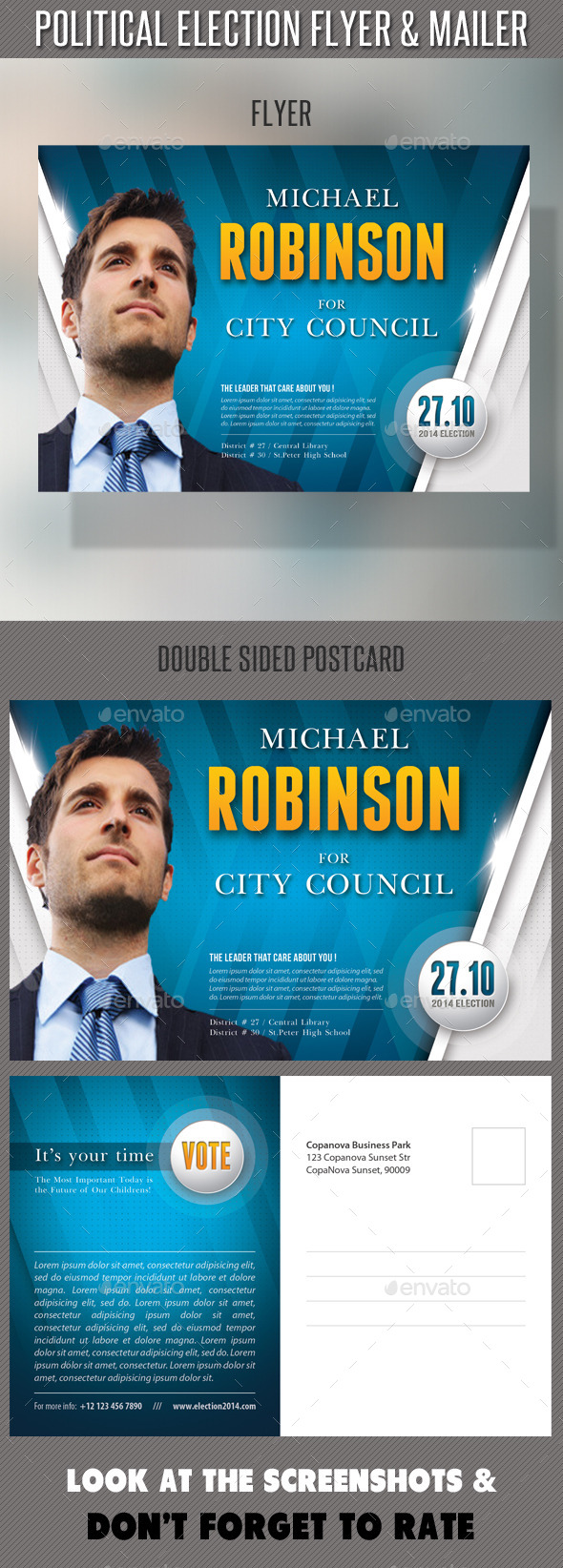 Political Election Flyer and Mailer Template by rapidgraf ...
