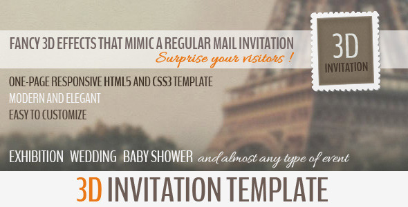 3D Invitation – Multipurpose Invitation Template