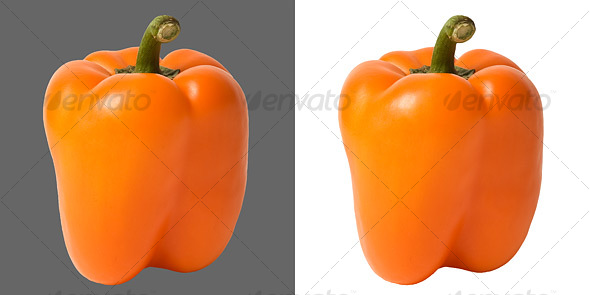 Orange Bell Pepper - Food & Drink Isolated Objects