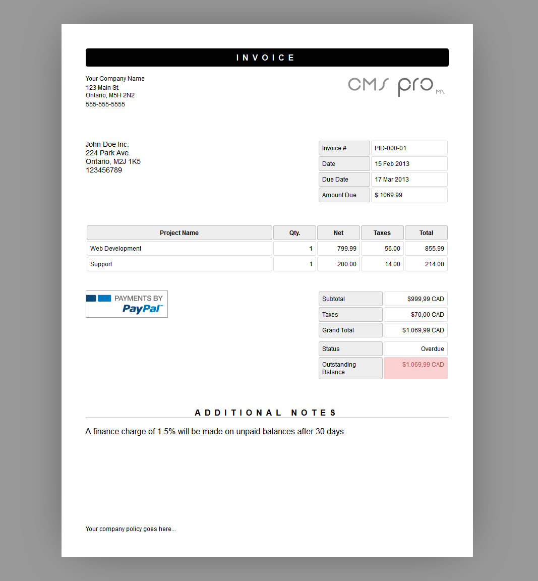 Invoicing Module For CMS Pro By Gewa CodeCanyon - Invoice module