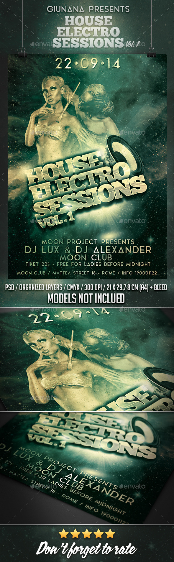 Electro House Sessions Vol. 1 Flyer/Poster - Clubs & Parties Events