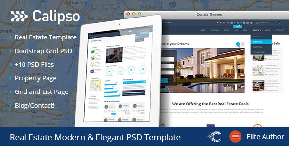 Calipso Real Estate Buy Rent Sell PSD - Retail PSD Templates