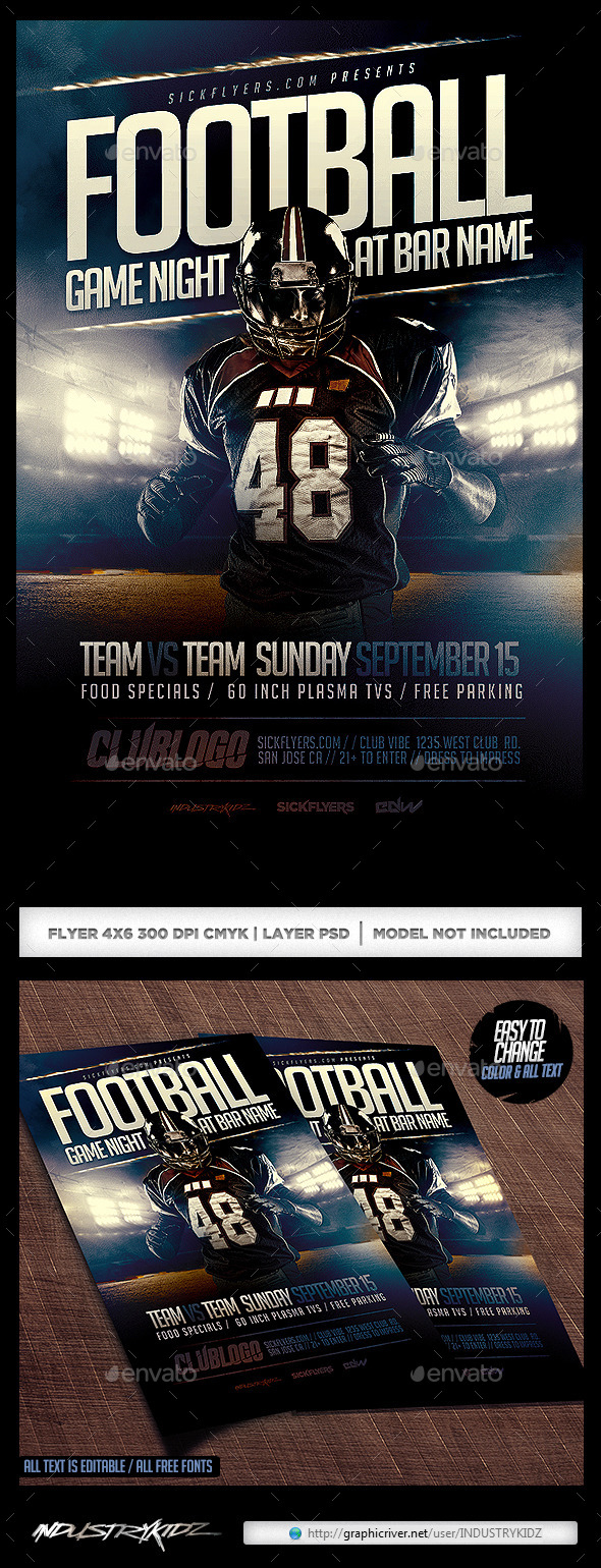 Football Game Night Flyer Template PSD - Sports Events