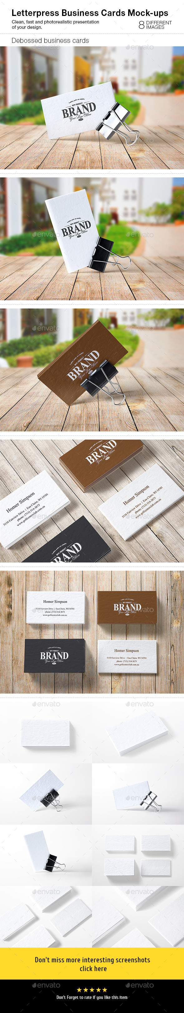 Letterpress Business Cards Mock-Ups - Business Cards Print