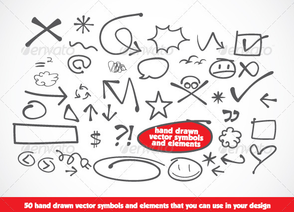 Hand Drawn Vector Symbols and Elements - Decorative Symbols Decorative