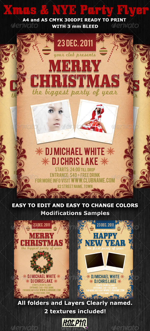 Christmas and Nye Party Flyer Template - Clubs & Parties Events