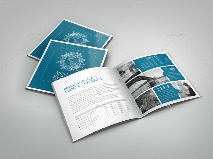 Annual Report InDesign Square Brochure by Braxas | GraphicRiver