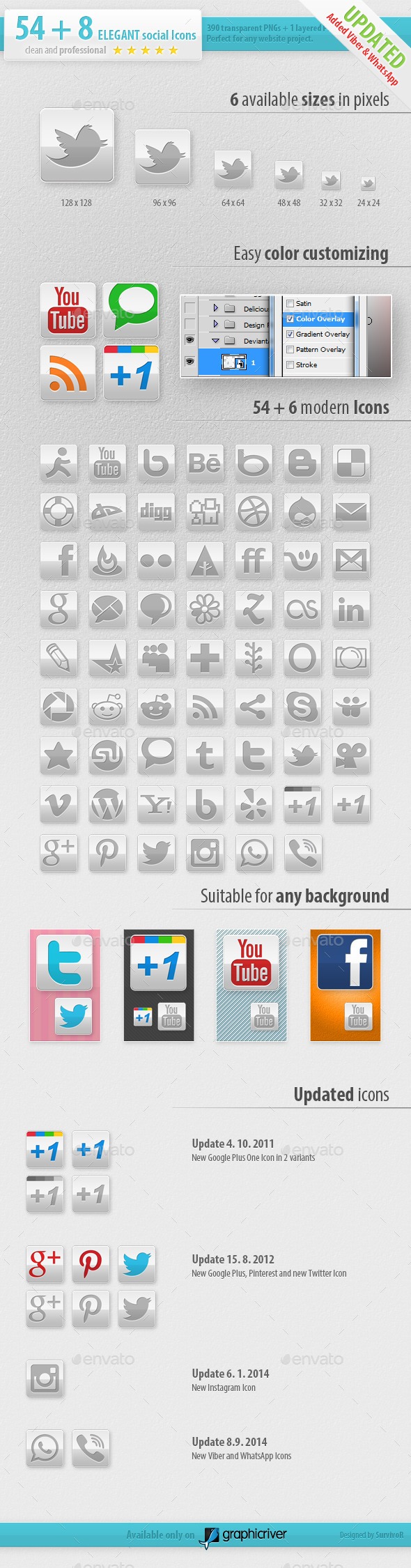 54 Social Media Icons - Elegant Edition - Media Icons
