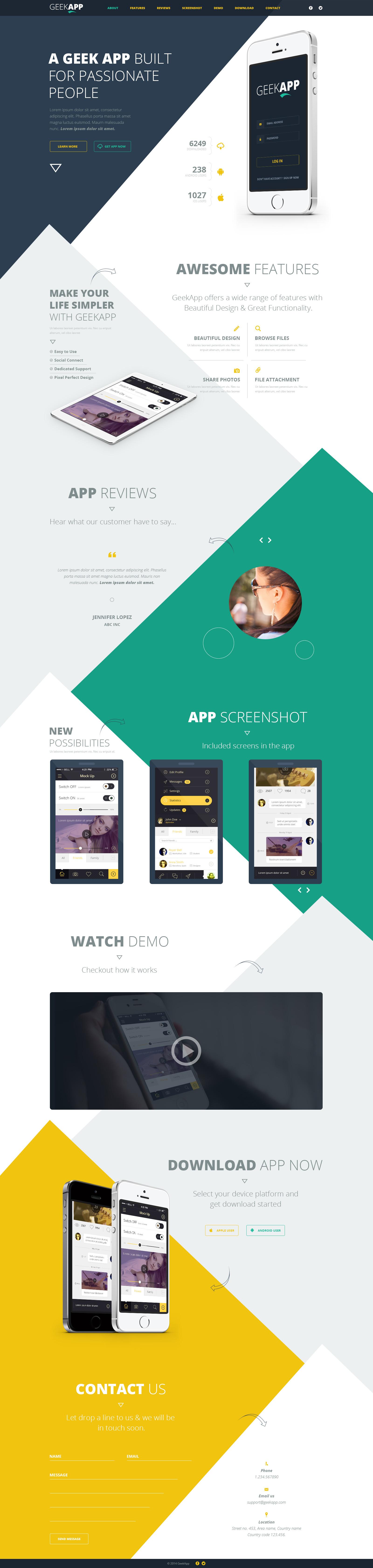 GeekApp - One Page App Landing PSD Template by webduck | ThemeForest