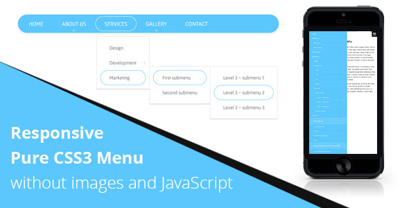 Responsive CSS3 Menu without JS - CodeCanyon Item for Sale