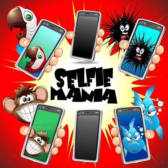Selfie Animals Cartoon Faces on Smartphone - Animals Characters