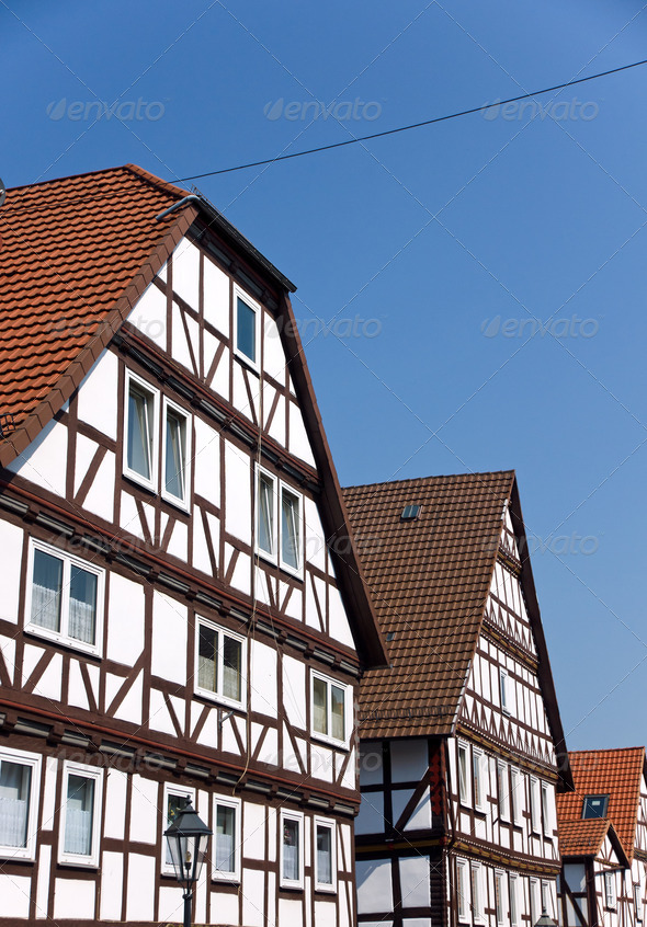 Typical half timbered houses - Stock Photo - Images