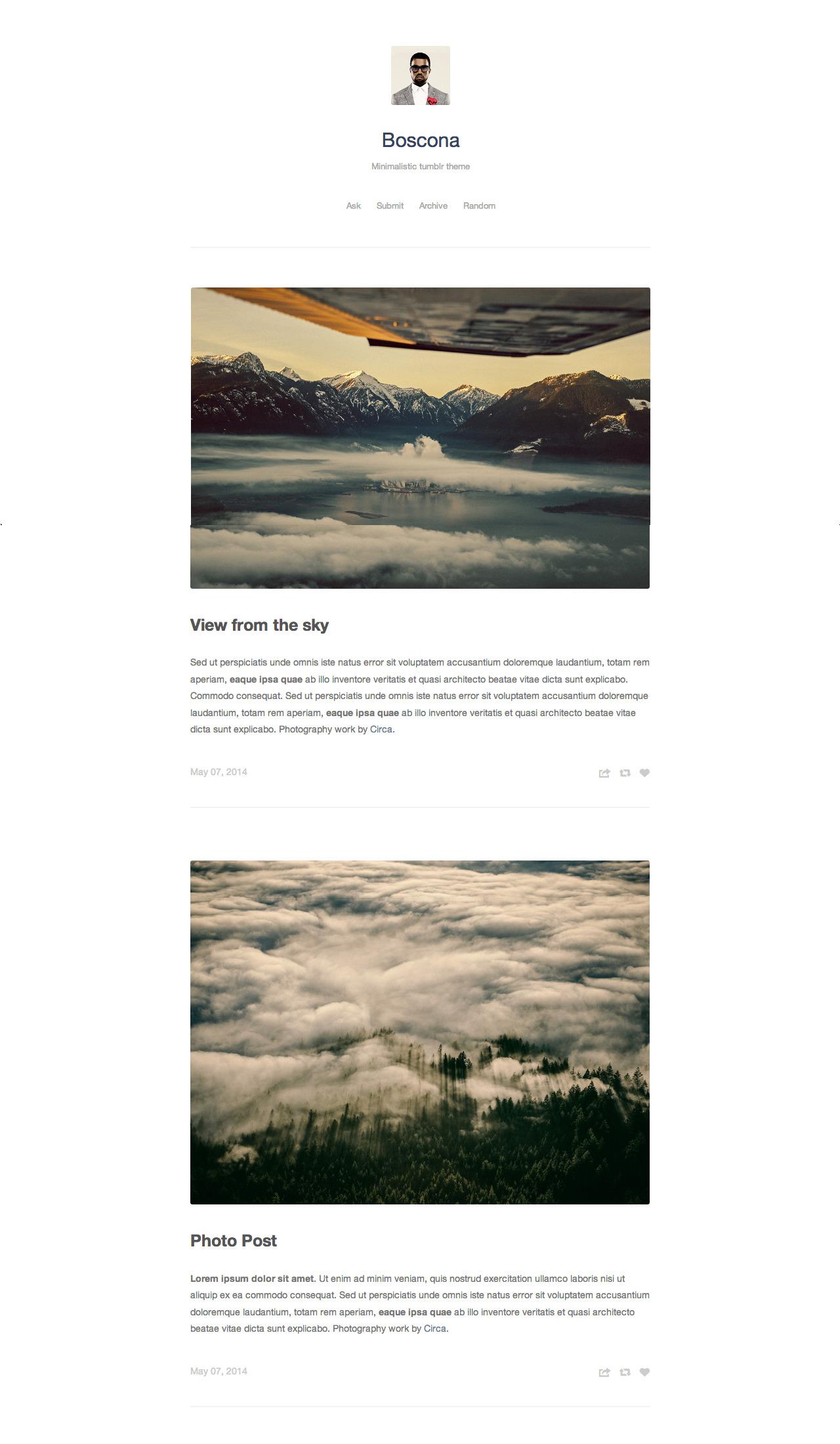 Boscona - Minimal One Column Theme by thejenyuan | ThemeForest