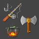 Viking Inspired Realistic Icons.