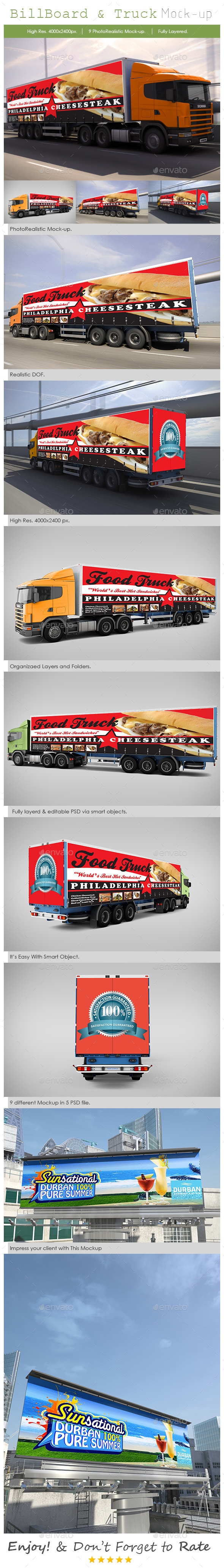 Billboard and Truck Mock-Up - Print Product Mock-Ups